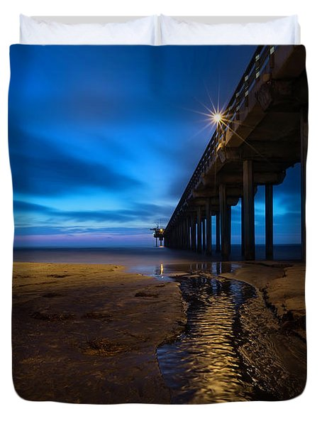 Scripps Pier Blue Hour Duvet Cover