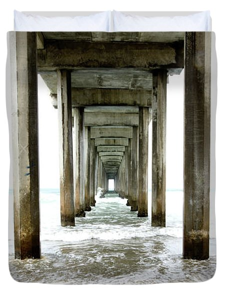 Scripps Pier California Duvet Cover