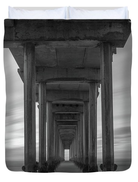 Scripps Pier Pillars Bw Duvet Cover