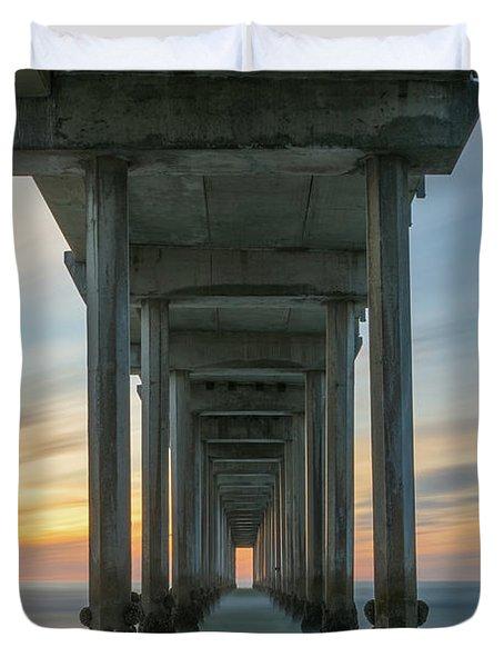 Scripps Pier Pillars  Duvet Cover