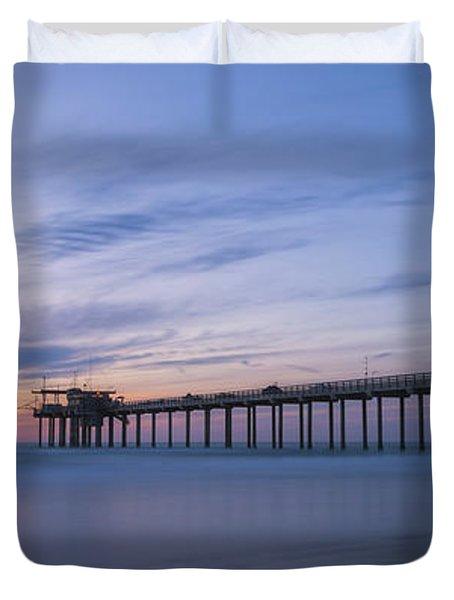 Scripps Pier Silhouette  Duvet Cover