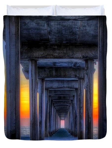 Duvet Cover featuring the photograph Scripp's Pier Sunset La Jolla California by Gigi Ebert