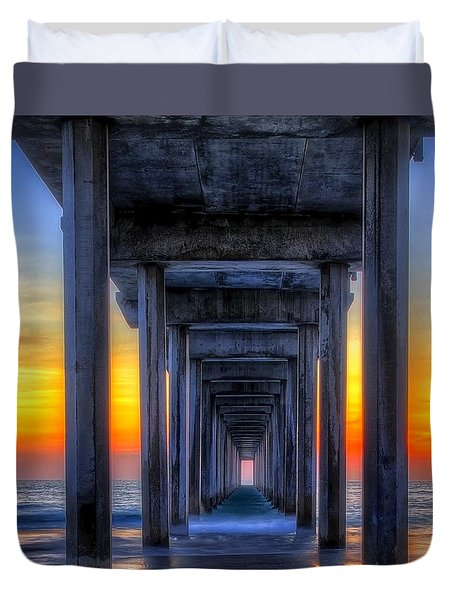 Scripp's Pier Sunset La Jolla California Duvet Cover