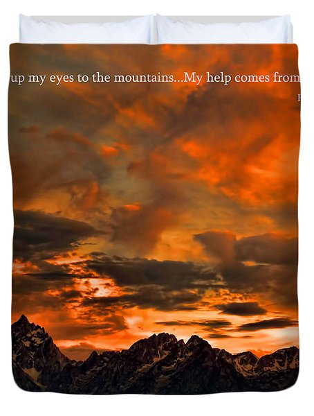 Scripture And Picture Psalm 121 1 2 Duvet Cover