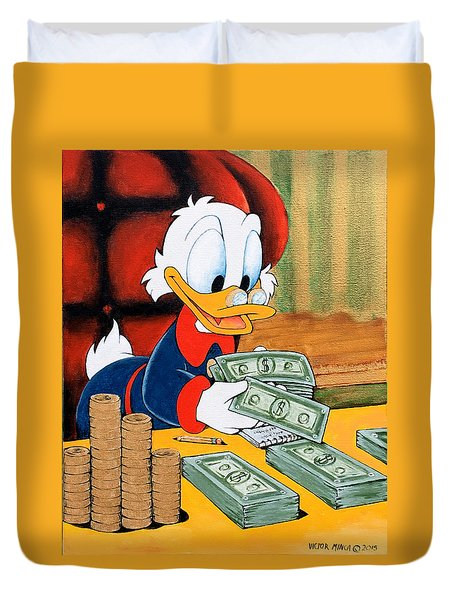 Scrooge Mcduck Counting Money Duvet Cover