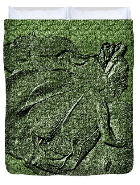 Sculpted Green Rose Duvet Cover