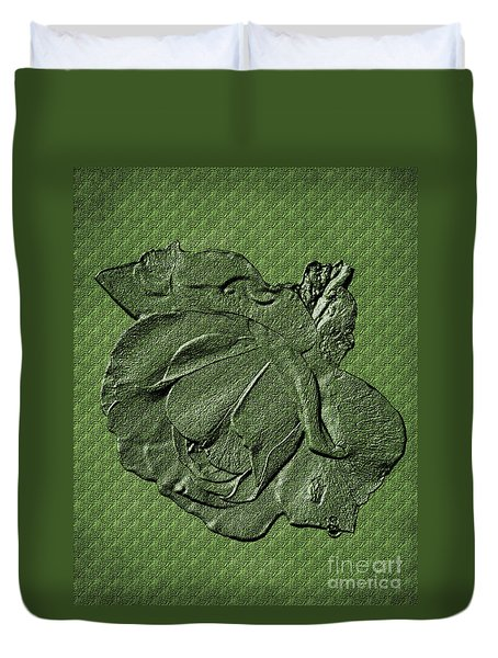 Sculpted Green Rose Duvet Cover by Smilin Eyes  Treasures