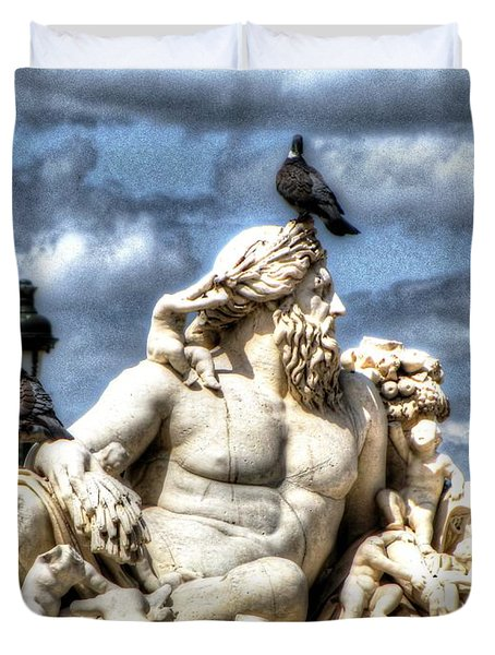 Duvet Cover featuring the pyrography Sculptur And Birds Paris  by Yury Bashkin