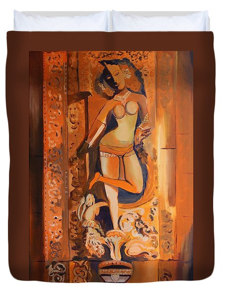 Sculpture On Temple Wall Duvet Cover by Geeta Biswas