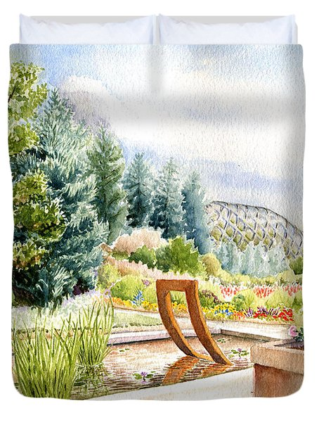 Sculpture Pool At Denver Botanic Gardens Duvet Cover