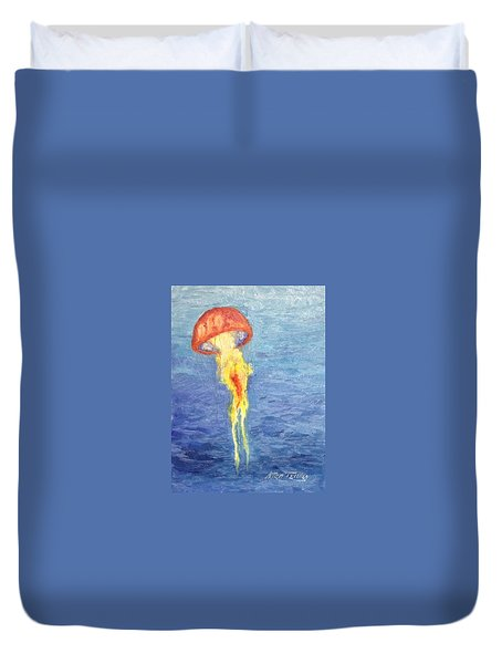 Duvet Cover featuring the painting Scyphozoa by Stan Tenney