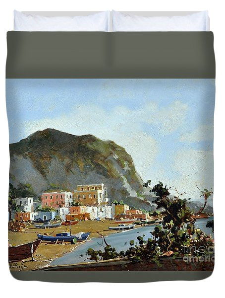 Sea And Mountain With Boats Duvet Cover