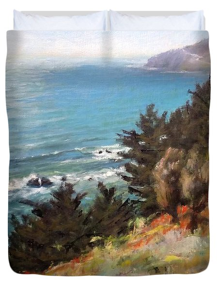 Sea And Pines Near Ragged Point, California Duvet Cover