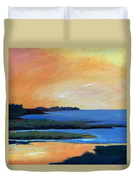 Duvet Cover featuring the painting Sea And Sky by Gary Coleman
