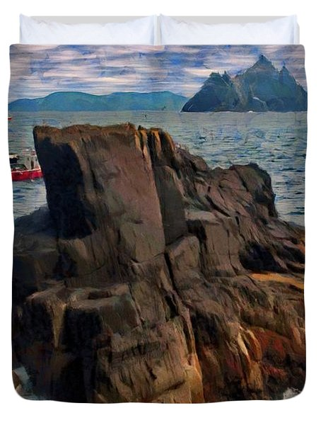 Duvet Cover featuring the painting Sea And Stone by Jeff Kolker