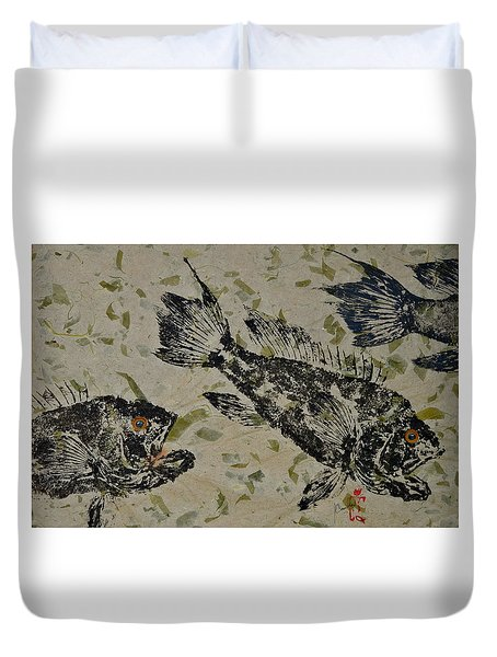 Sea Bass School On Olive Mango Paper  Duvet Cover