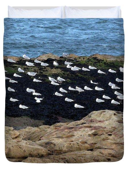 Sea Birds At Rest Duvet Cover