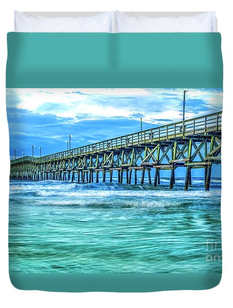 Sea Blue Cherry Grove Pier Duvet Cover