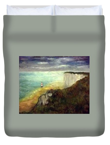 Sea, Cliffs, Beach And Lighthouse Duvet Cover