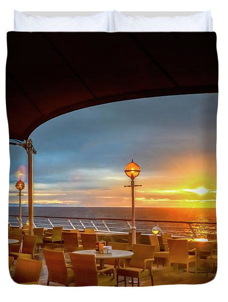 Duvet Cover featuring the photograph Sea Cruise Sunrise by John Poon