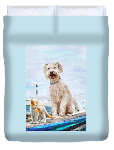 Duvet Cover featuring the digital art Sea Dog And Cat by Jane Schnetlage