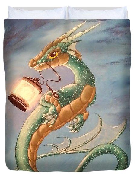 Sea Dragon And Lantern Duvet Cover