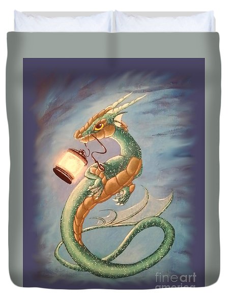 Sea Dragon And Lantern Duvet Cover