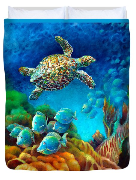 Duvet Cover featuring the painting Sea Escape IIi - Gemstone Hawksbill Turtle by Nancy Tilles