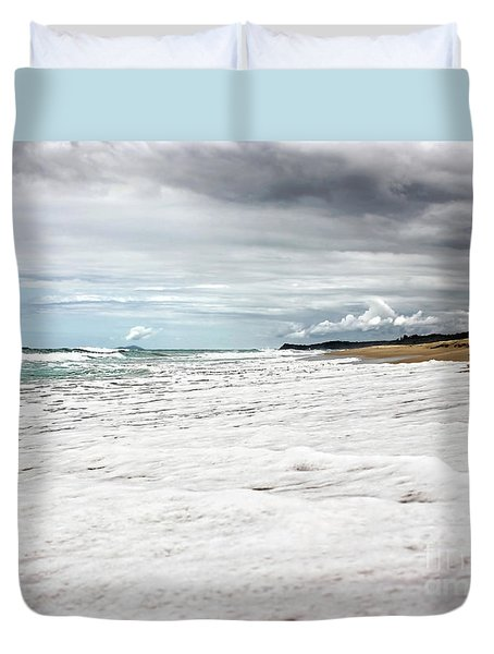 Duvet Cover featuring the photograph Sea Foam And Clouds By Kaye Menner by Kaye Menner