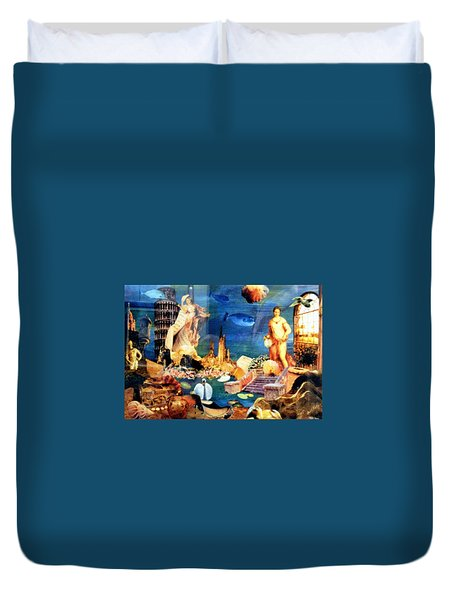 Duvet Cover featuring the painting Sea Garden by Gail Kirtz