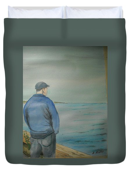 Duvet Cover featuring the painting Sea Gaze by Anthony Ross