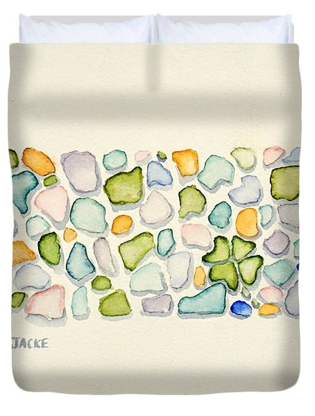 Sea Glass Puzzle - Found Luck Duvet Cover