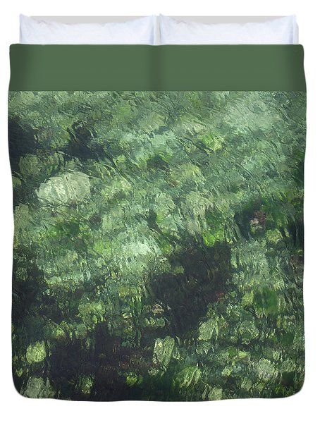 Sea Green Abstract Duvet Cover by Jayne Wilson