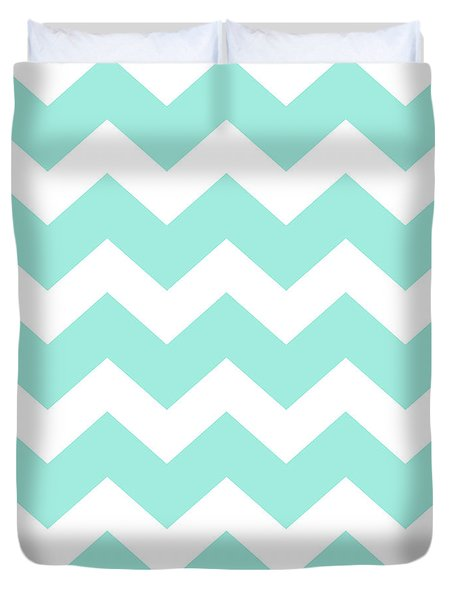 Sea Green Chevron Pattern Duvet Cover by Christina Rollo
