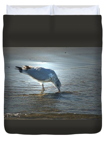 Sea Gull At Sundown Duvet Cover