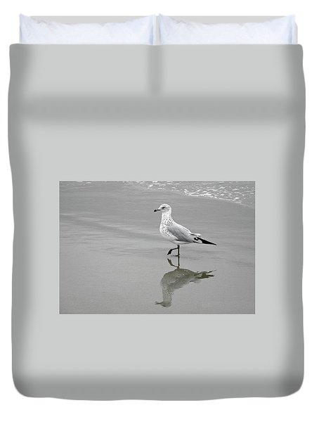 Duvet Cover featuring the photograph Sea Gull Walking In Surf by Wayne Marshall Chase