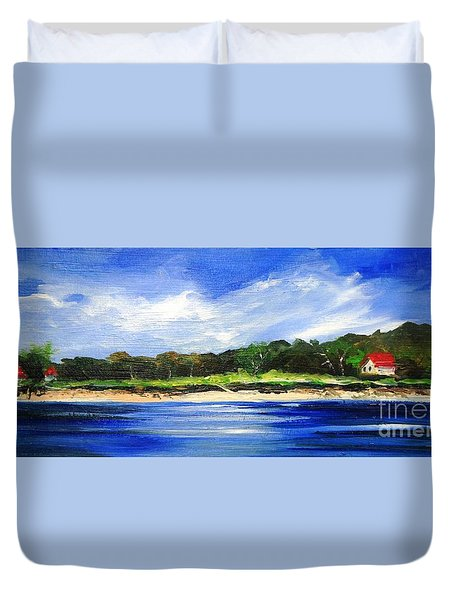 Duvet Cover featuring the painting Sea Hill Houses - Original Sold by Therese Alcorn