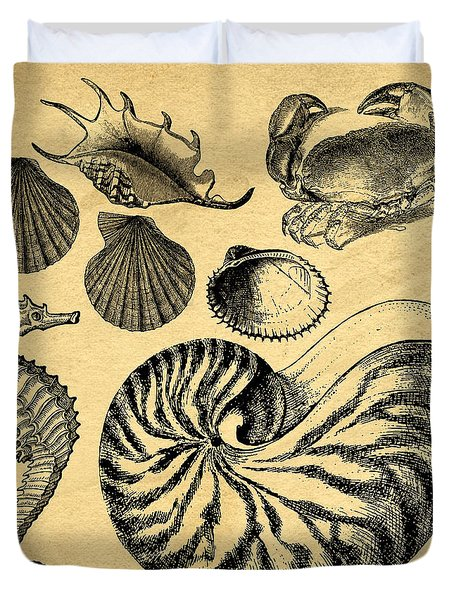 Duvet Cover featuring the drawing Sea Life Vintage Illustrations by Edward Fielding