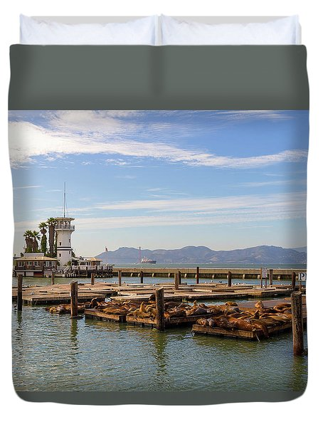Sea Lions At Pier 39 In San Francisco Duvet Cover