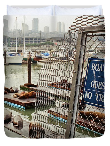 Sea Lions Take Over, San Francisco Duvet Cover