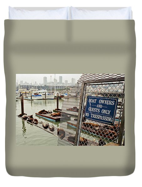 Sea Lions Take Over, San Francisco Duvet Cover