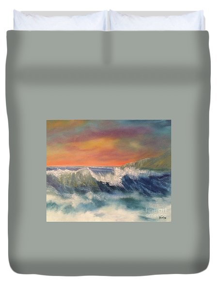 Duvet Cover featuring the painting Sea Mist by Denise Tomasura