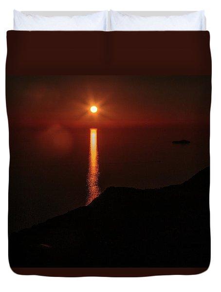 Sea, Mountains, Sunset, Sun Sinking Over The Horizon Duvet Cover