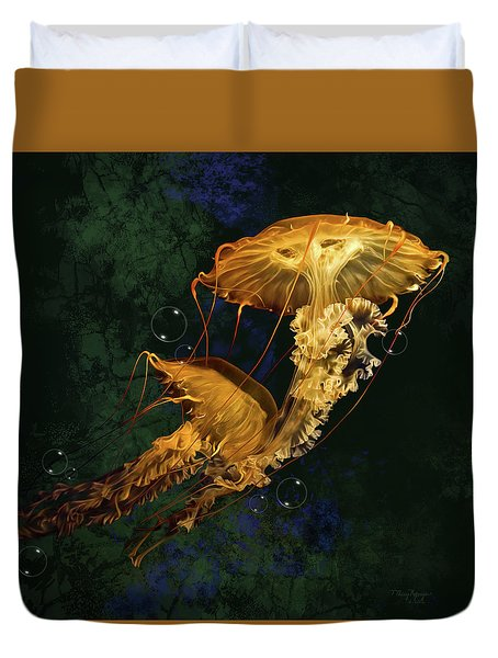 Duvet Cover featuring the digital art Sea Nettle Jellies by Thanh Thuy Nguyen