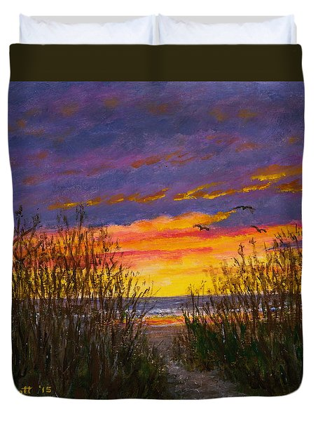 Sea Oat Sunrise # 2 Duvet Cover by Kathleen McDermott