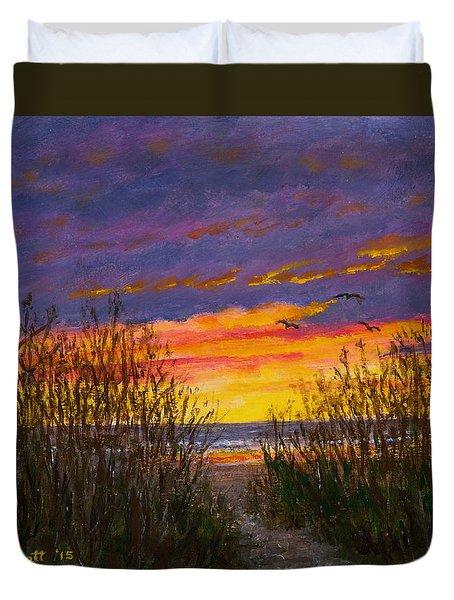 Duvet Cover featuring the painting Sea Oat Sunrise # 2 by Kathleen McDermott