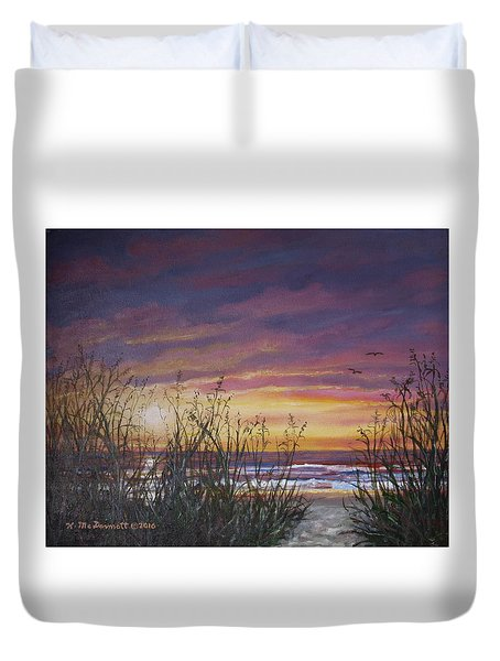 Sea Oat Sunrise # 3 Duvet Cover by Kathleen McDermott