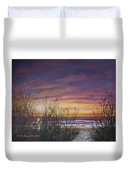 Duvet Cover featuring the painting Sea Oat Sunrise # 3 by Kathleen McDermott