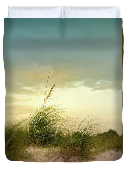 Sea Oats And Florwers Duvet Cover
