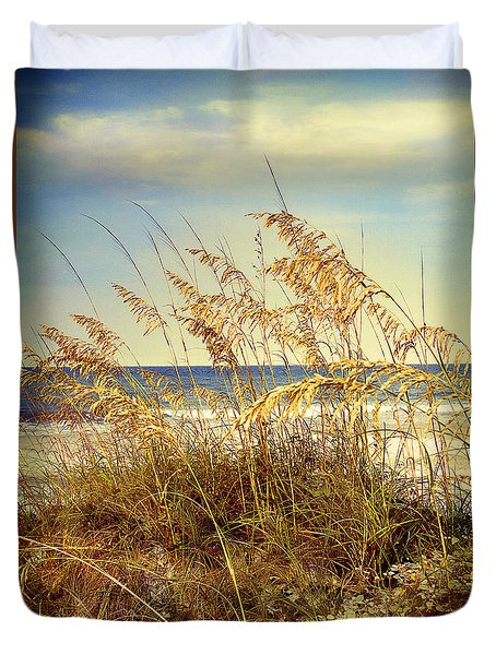 Duvet Cover featuring the photograph Sea Oats Ocean 14 by Linda Olsen
